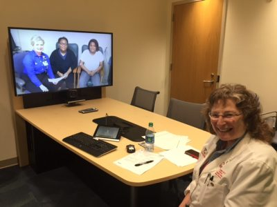 A Children's National physician during a telemedicine session.